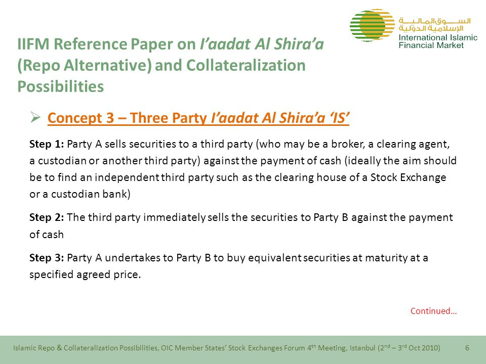  Concept 3 – Three Party I'aadat Al Shira'a 'IS' Step 1: Party A sells securities to a third party (who may be a broker, a clearing agent, a custodian or another third party) against the payment of cash (ideally the aim should be to find an independent third party such as the clearing house of a Stock Exchange or a custodian bank) Step 2: The third party immediately sells the securities to Party B against the payment of cash Step 3: Party A undertakes to Party B to buy equivalent securities at maturity at a specified agreed price.