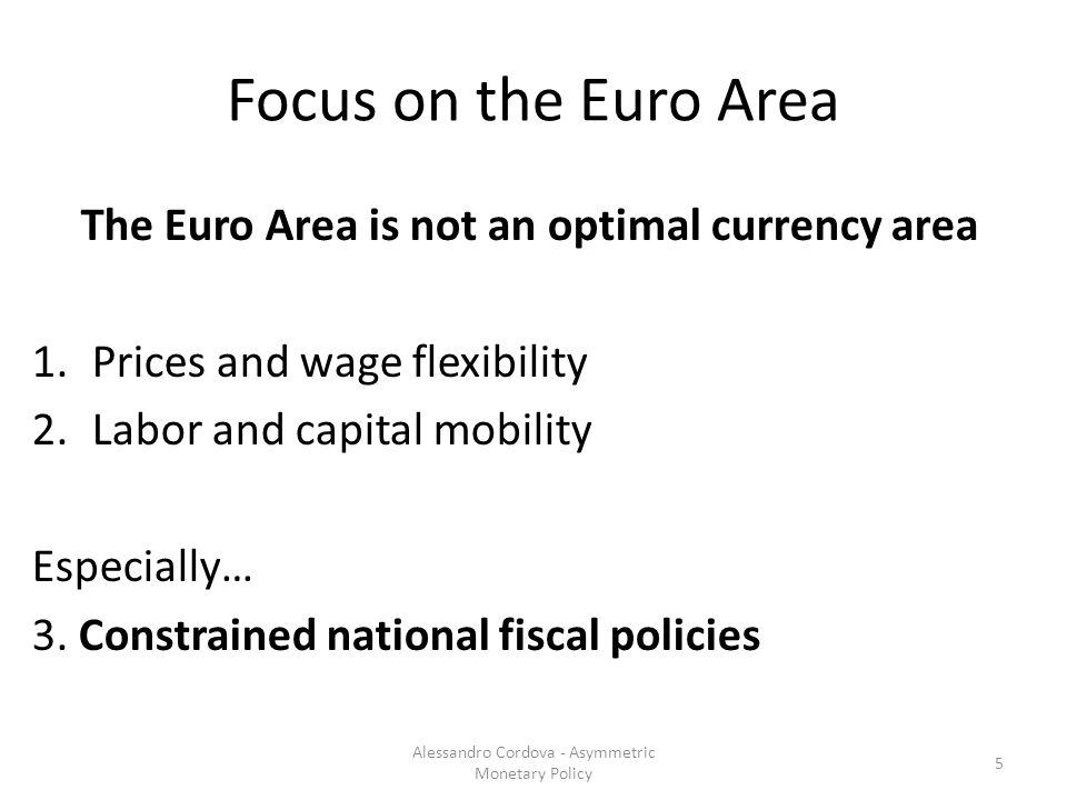 Focus on the Euro Area The Euro Area is not an optimal currency area 1.Prices and wage flexibility 2.Labor and capital mobility Especially… 3.