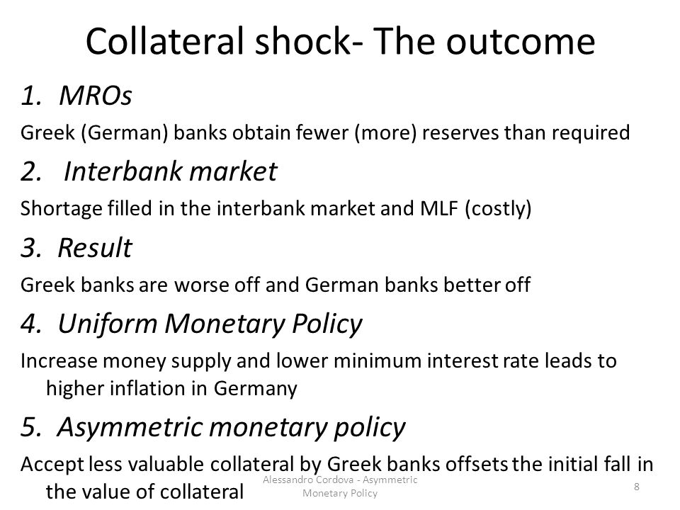 Collateral shock- The outcome 1.MROs Greek (German) banks obtain fewer (more) reserves than required 2.