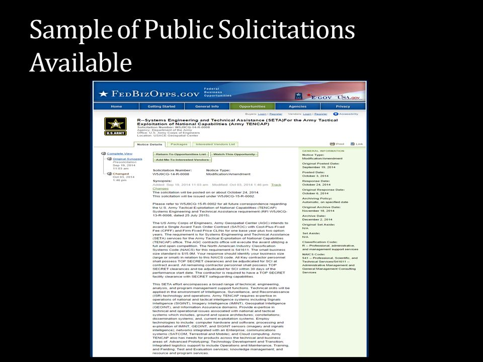 Sample of Public Solicitations Available