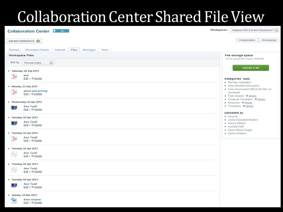 Collaboration Center Shared File View