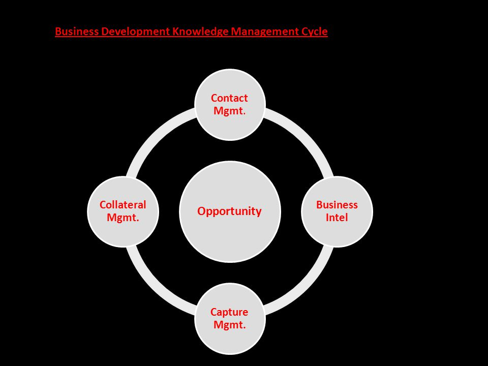 Opportunity Contact Mgmt. Business Intel Capture Mgmt. Collateral Mgmt. Business Development Knowledge Management Cycle