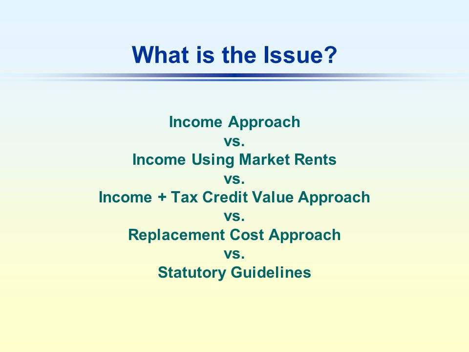 What is the Issue.Income Approach vs. Income Using Market Rents vs.