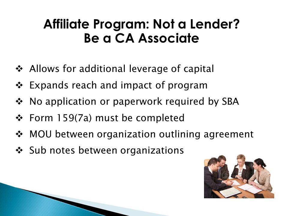 Affiliate Program: Not a Lender.