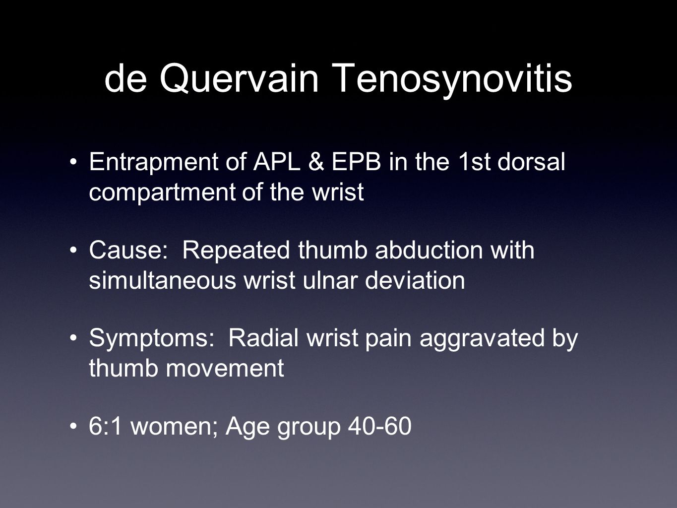Thumb Radial Collateral Ligament Injury Partial Rupture Hand-based thumb spica splint for 6 weeks AROM last 2 weeks Resisted thumb activity after 3 months Aching pain can last > 6 months Complete Rupture Operative Repair