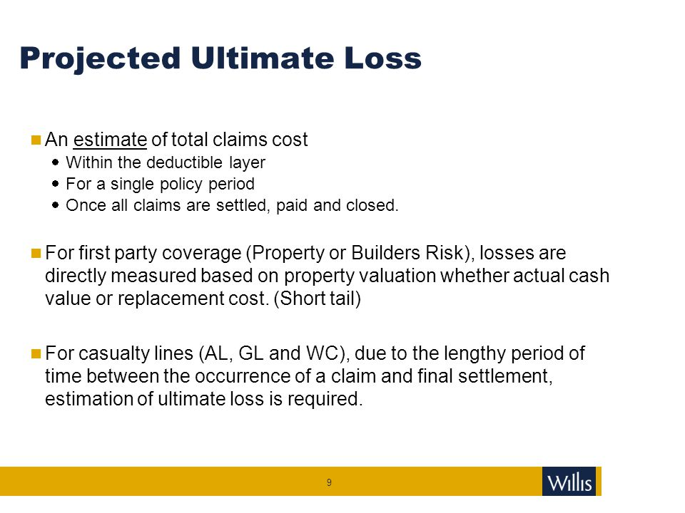 Projected Ultimate Loss An estimate of total claims cost  Within the deductible layer  For a single policy period  Once all claims are settled, pai
