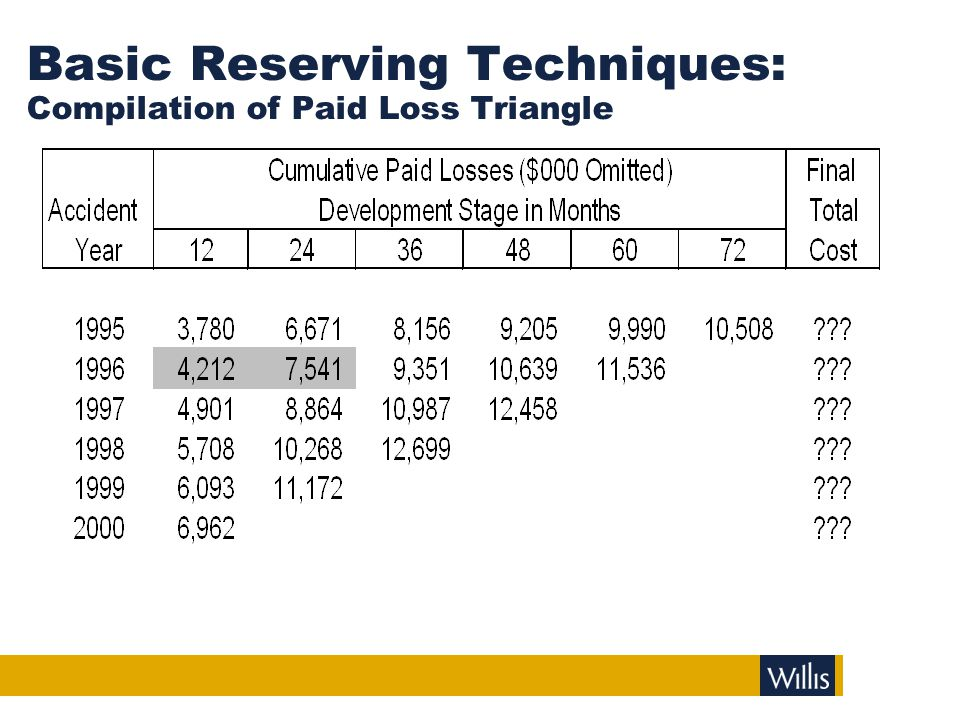 Basic Reserving Techniques: Compilation of Paid Loss Triangle