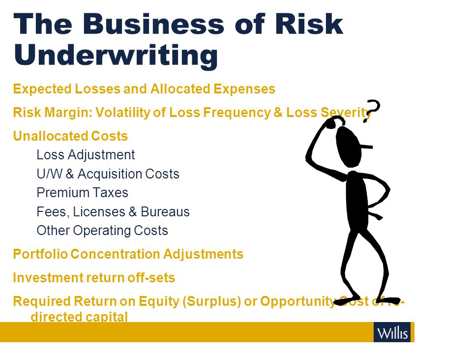 The Business of Risk Underwriting Expected Losses and Allocated Expenses Risk Margin: Volatility of Loss Frequency & Loss Severity Unallocated Costs L