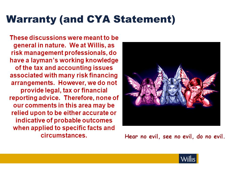 Warranty (and CYA Statement) These discussions were meant to be general in nature. We at Willis, as risk management professionals, do have a layman's