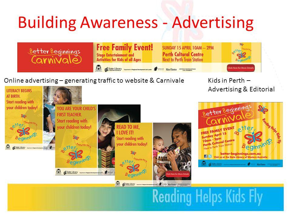 Building Awareness - Advertising Online advertising – generating traffic to website & CarnivaleKids in Perth – Advertising & Editorial