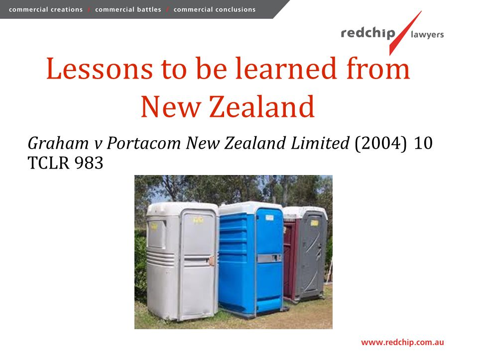 Lessons to be learned from New Zealand Graham v Portacom New Zealand Limited (2004) 10 TCLR 983