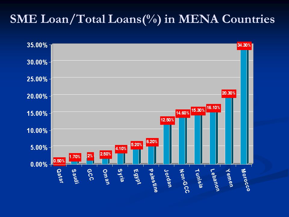 SME Loan/Total Loans(%) in MENA Countries