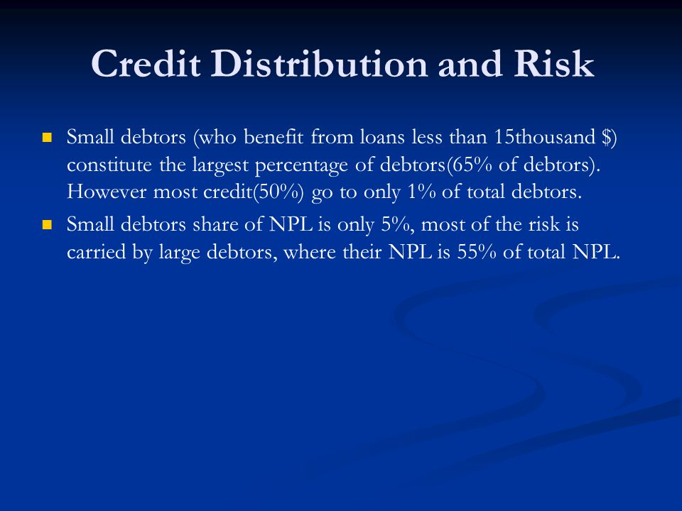 Credit Distribution and Risk Small debtors (who benefit from loans less than 15thousand $) constitute the largest percentage of debtors(65% of debtors).