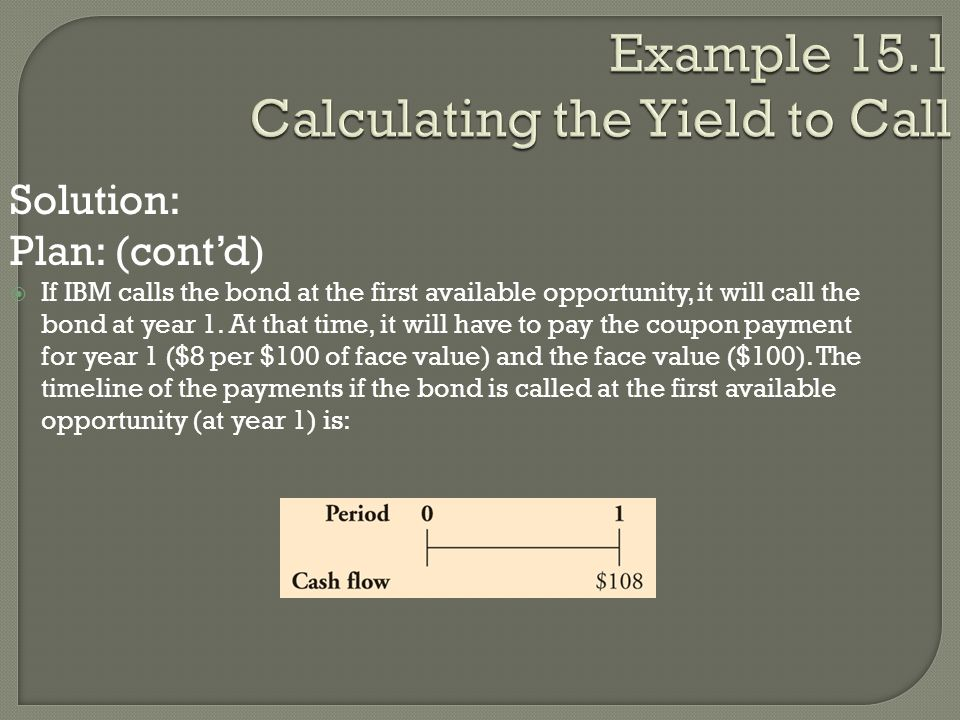 Example 15.1 Calculating the Yield to Call Solution: Plan: (cont'd)  If IBM calls the bond at the first available opportunity, it will call the bond