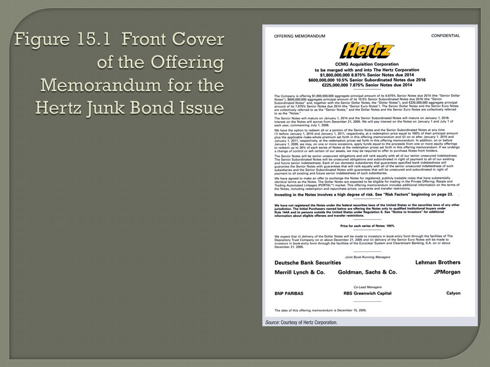 Figure 15.1 Front Cover of the Offering Memorandum for the Hertz Junk Bond Issue