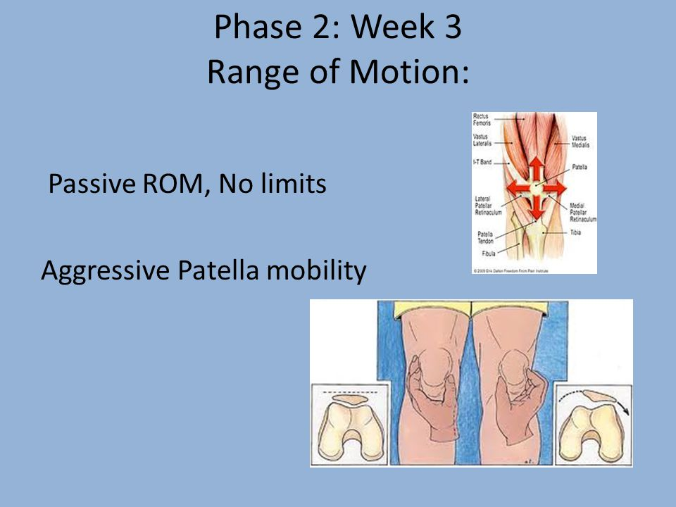 Phase 2: Week 3 Range of Motion: Passive ROM, No limits Aggressive Patella mobility