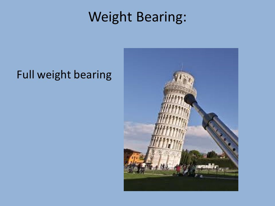 Weight Bearing: Full weight bearing