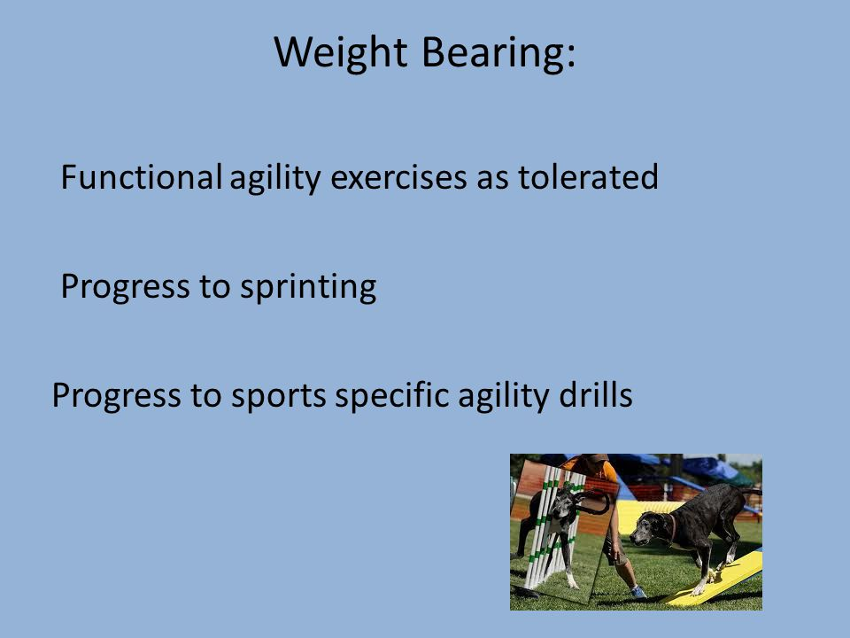 Weight Bearing: Functional agility exercises as tolerated Progress to sprinting Progress to sports specific agility drills