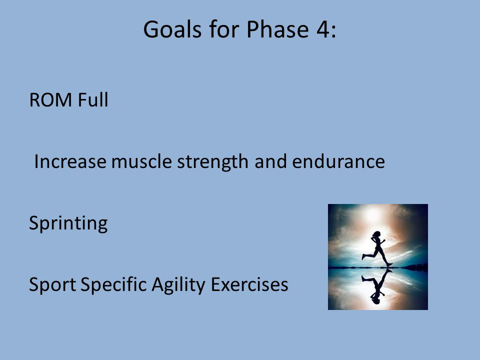 Goals for Phase 4: ROM Full Increase muscle strength and endurance Sprinting Sport Specific Agility Exercises