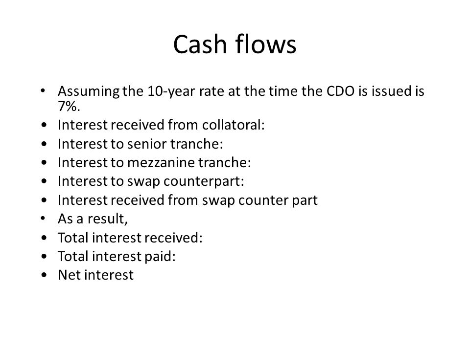 Cash flows Assuming the 10-year rate at the time the CDO is issued is 7%.