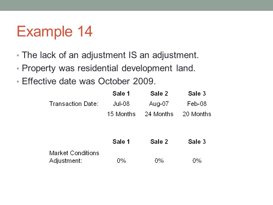 Example 14 The lack of an adjustment IS an adjustment. Property was residential development land. Effective date was October 2009.