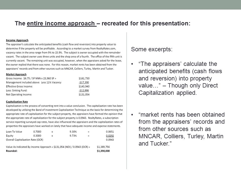 """The entire income approach – recreated for this presentation: Some excerpts: """"The appraisers' calculate the anticipated benefits (cash flows and rever"""