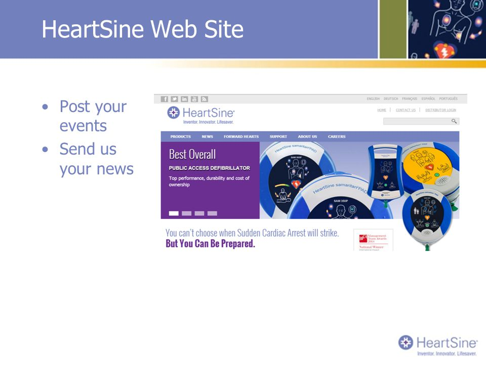 HeartSine Web Site Post your events Send us your news