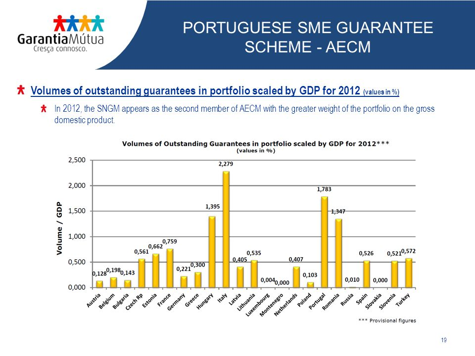 19 Volumes of outstanding guarantees in portfolio scaled by GDP for 2012 (values in %) In 2012, the SNGM appears as the second member of AECM with the greater weight of the portfolio on the gross domestic product.