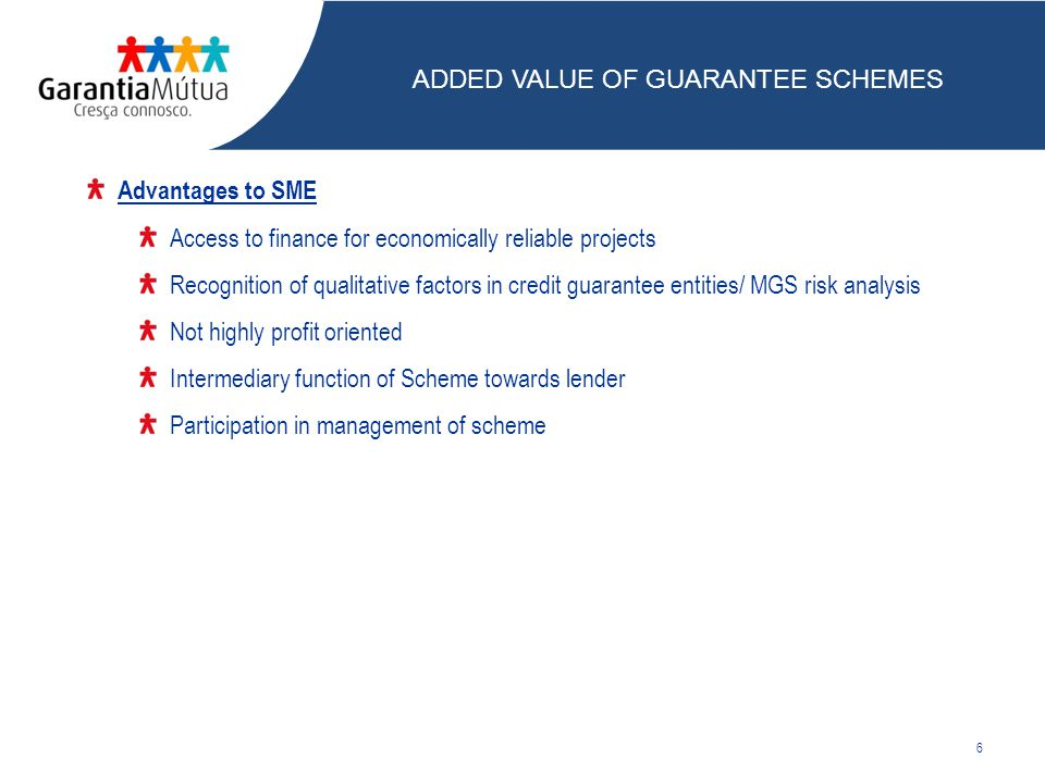 Advantages to SME Access to finance for economically reliable projects Recognition of qualitative factors in credit guarantee entities/ MGS risk analysis Not highly profit oriented Intermediary function of Scheme towards lender Participation in management of scheme 6 ADDED VALUE OF GUARANTEE SCHEMES