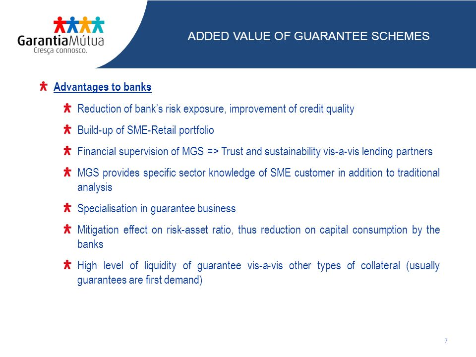 Advantages to banks Reduction of bank's risk exposure, improvement of credit quality Build-up of SME-Retail portfolio Financial supervision of MGS => Trust and sustainability vis-a-vis lending partners MGS provides specific sector knowledge of SME customer in addition to traditional analysis Specialisation in guarantee business Mitigation effect on risk-asset ratio, thus reduction on capital consumption by the banks High level of liquidity of guarantee vis-a-vis other types of collateral (usually guarantees are first demand) 7 ADDED VALUE OF GUARANTEE SCHEMES