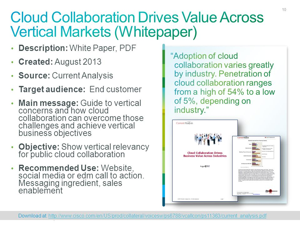 Cisco Confidential 10 © 2010 Cisco and/or its affiliates. All rights reserved. 10 Description: White Paper, PDF Created: August 2013 Source: Current A