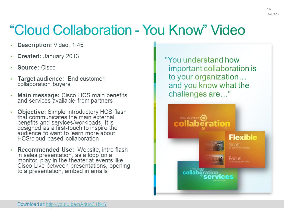 Cisco Confidential 16 © 2010 Cisco and/or its affiliates. All rights reserved. 16 Description: Video, 1:45 Created: January 2013 Source: Cisco Target