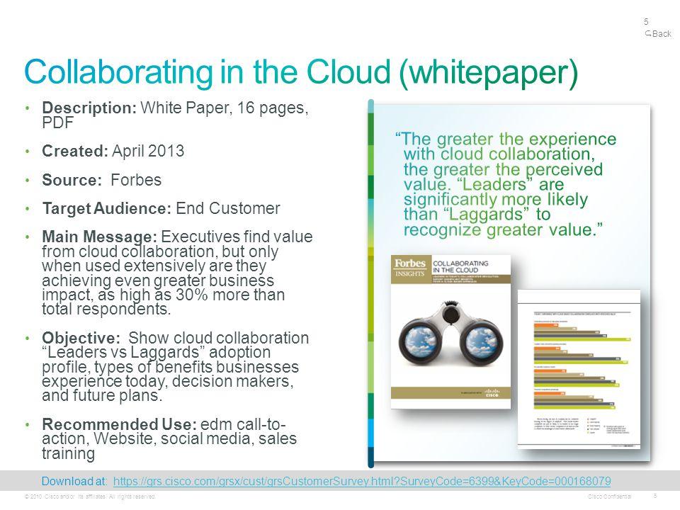 Cisco Confidential 5 © 2010 Cisco and/or its affiliates.