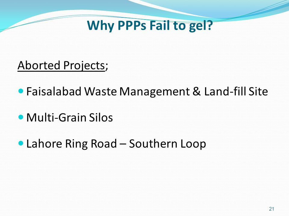 Why PPPs Fail to gel.