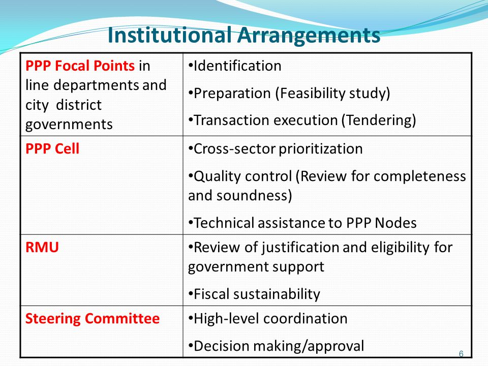 Institutional Arrangements 6 PPP Focal Points in line departments and city district governments Identification Preparation (Feasibility study) Transaction execution (Tendering) PPP Cell Cross-sector prioritization Quality control (Review for completeness and soundness) Technical assistance to PPP Nodes RMU Review of justification and eligibility for government support Fiscal sustainability Steering Committee High-level coordination Decision making/approval