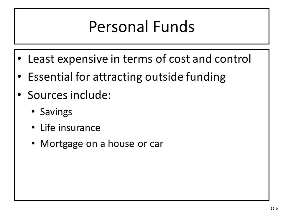 11-6 Personal Funds Least expensive in terms of cost and control Essential for attracting outside funding Sources include: Savings Life insurance Mort