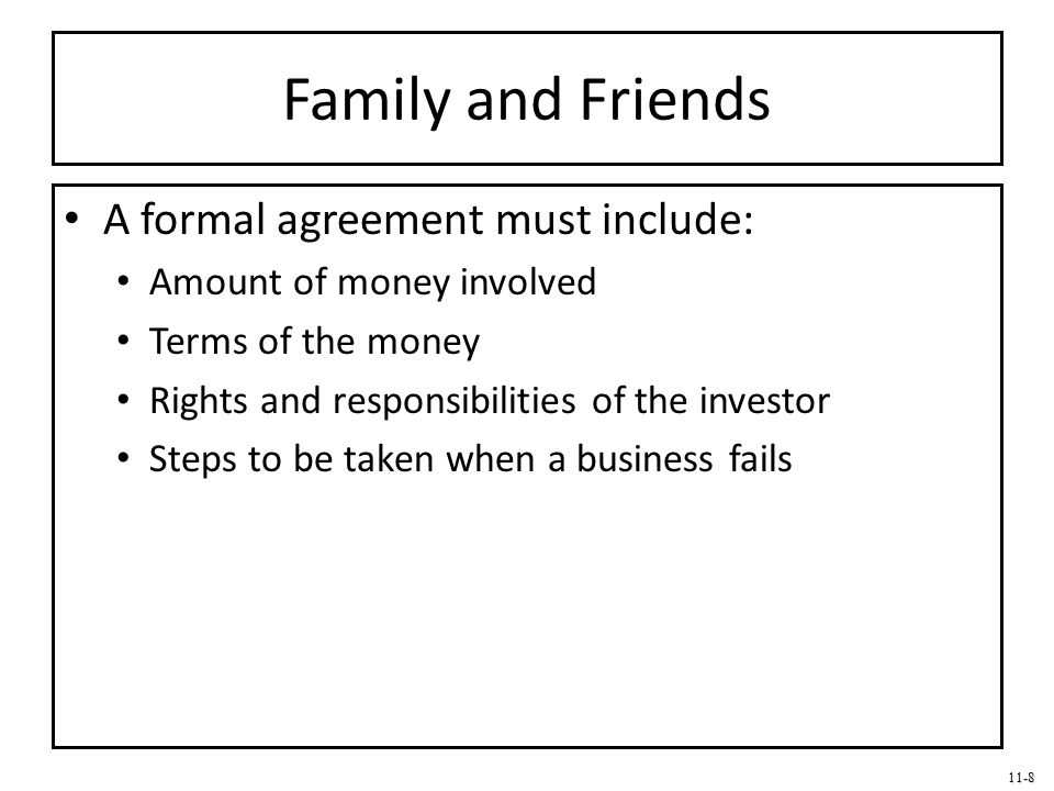 11-8 Family and Friends A formal agreement must include: Amount of money involved Terms of the money Rights and responsibilities of the investor Steps