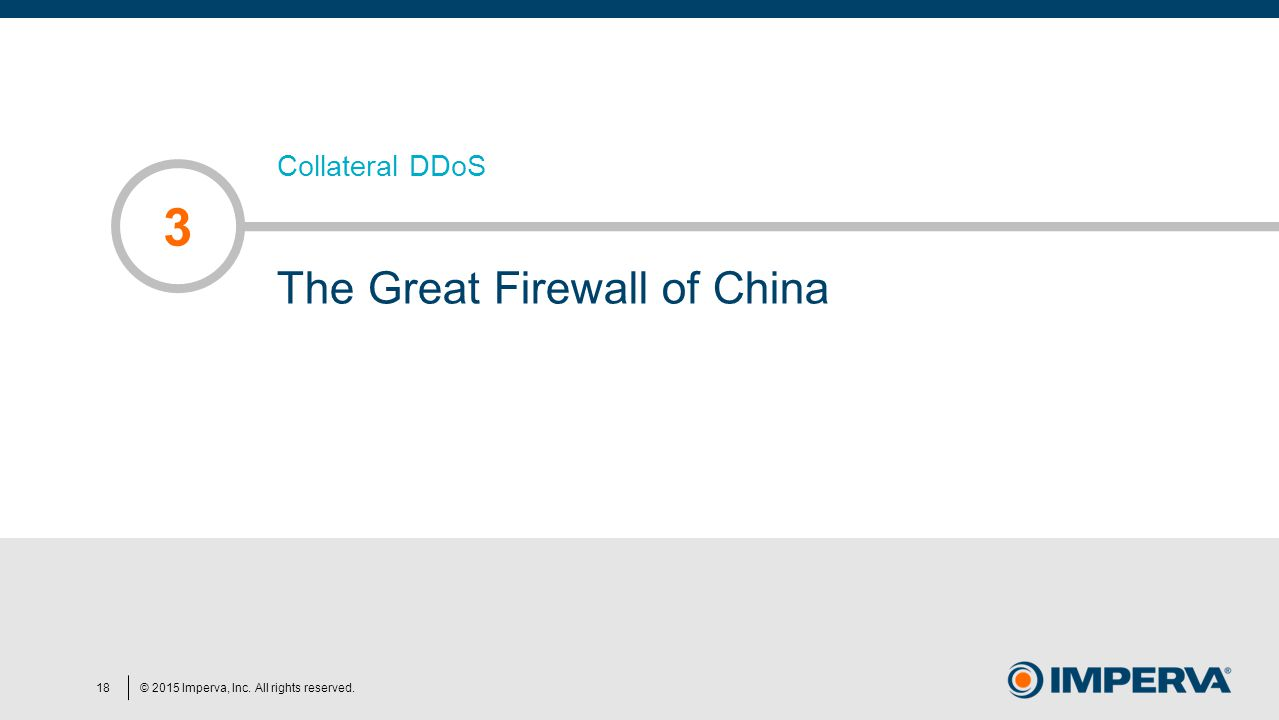 © 2015 Imperva, Inc. All rights reserved. Collateral DDoS The Great Firewall of China 3 18