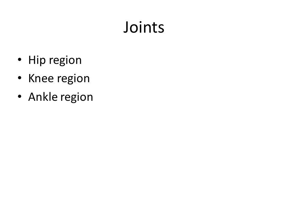 Joints Hip region Knee region Ankle region