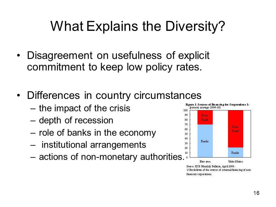 16 What Explains the Diversity? Disagreement on usefulness of explicit commitment to keep low policy rates. Differences in country circumstances –the