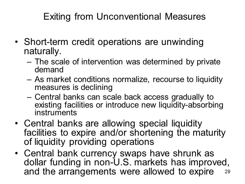 29 Exiting from Unconventional Measures Short-term credit operations are unwinding naturally.