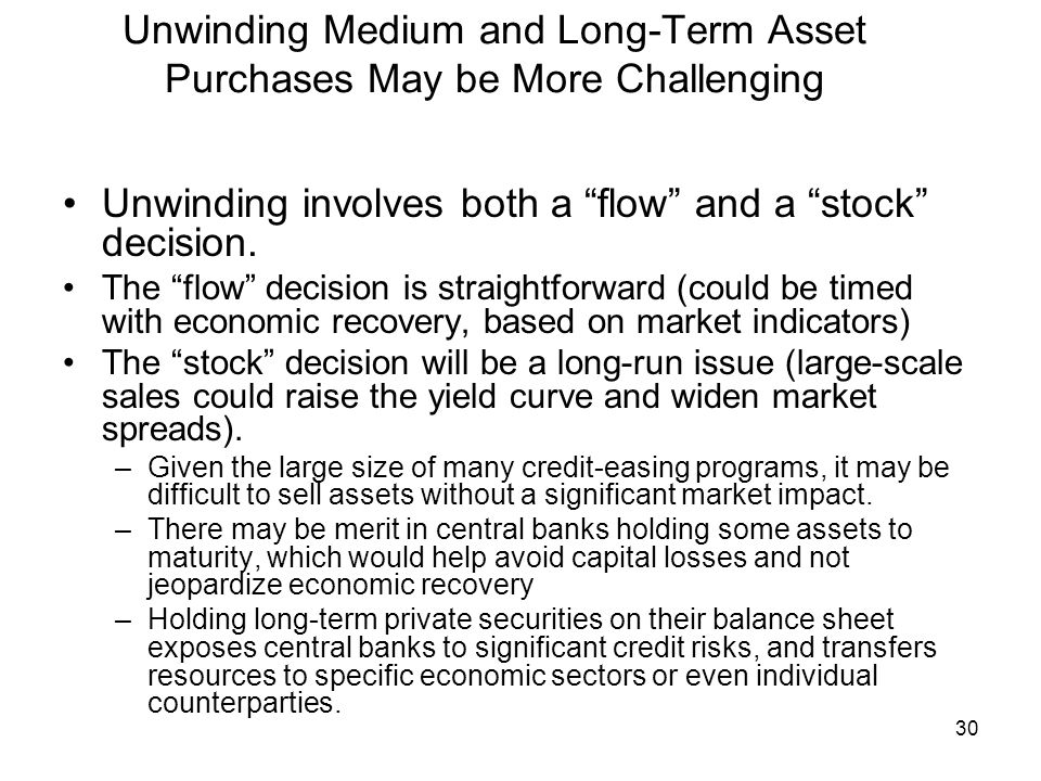 30 Unwinding Medium and Long-Term Asset Purchases May be More Challenging Unwinding involves both a flow and a stock decision.