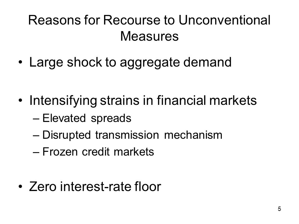 5 Reasons for Recourse to Unconventional Measures Large shock to aggregate demand Intensifying strains in financial markets –Elevated spreads –Disrupted transmission mechanism –Frozen credit markets Zero interest-rate floor