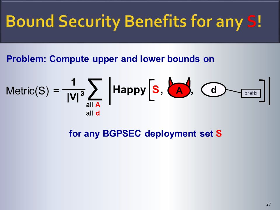 ∑ all A all d Problem: Compute upper and lower bounds on for any BGPSEC deployment set S 27 Happy S,, |V| 3 1 Metric(S) = A d prefix
