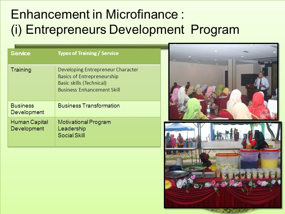 Enhancement in Microfinance : (i) Entrepreneurs Development Program