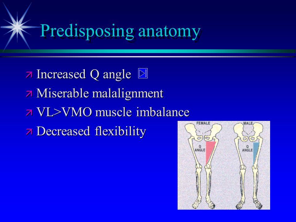 Predisposing anatomy ä Increased Q angle ä Miserable malalignment ä VL>VMO muscle imbalance ä Decreased flexibility