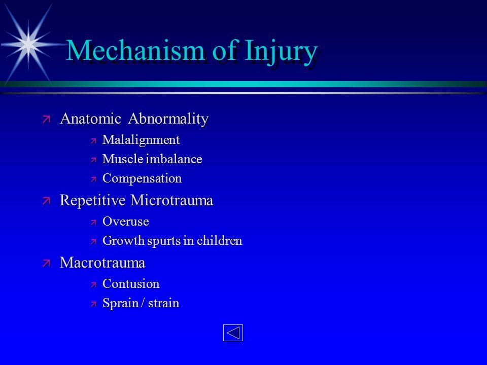 Mechanism of Injury ä Anatomic Abnormality ä Malalignment ä Muscle imbalance ä Compensation ä Repetitive Microtrauma ä Overuse ä Growth spurts in chil