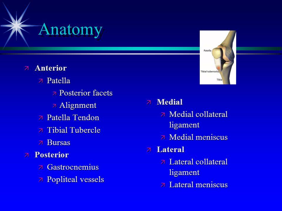 Anatomy ä Internal structures ä Ligaments ä Anterior cruciate ligament ä Posterior cruciate ligament ä Medial collateral ligament ä Lateral collateral ligament ä Cartilage ä Menisci ä Articular