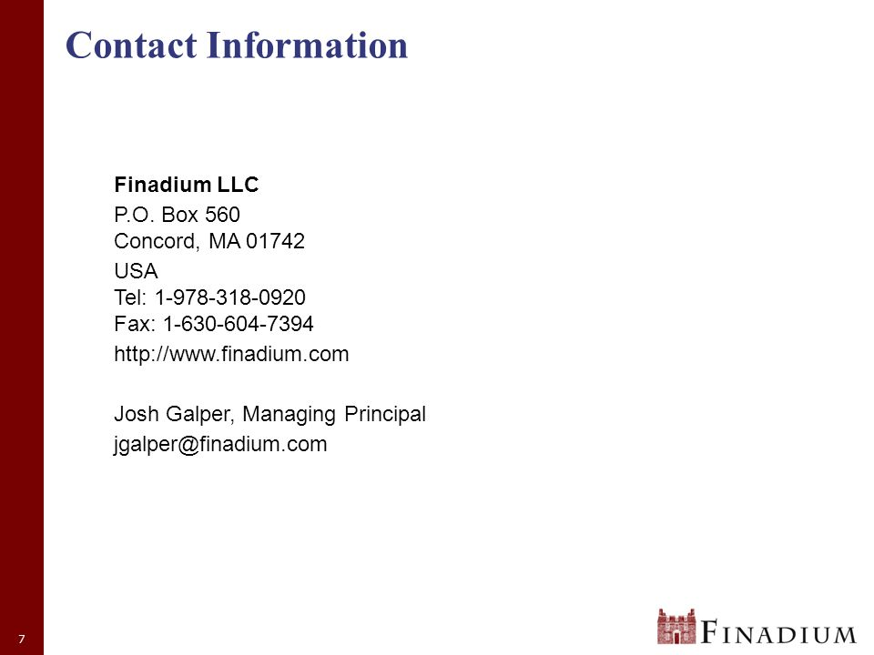 7 Contact Information Finadium LLC P.O.