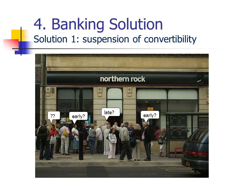 4. Banking Solution Solution 1: suspension of convertibility early? late? early? ??